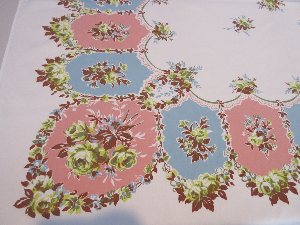 Yellow Roses on Blue Coral Medallions Cutter? Floral Vintage Printed Tablecloth (52 X 48)