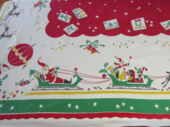 HTF Santa Hot Air Balloon Sleigh Christmas Vintage Printed Tablecloth (71 X 52)