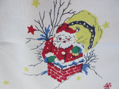 Imperfect Family Santa on Roof Christmas Vintage Printed Tablecloth (51 X 46)