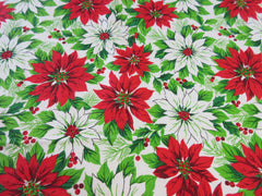 Poinsettias Wall to Wall Christmas Vintage Printed Tablecloth (82 X 58)