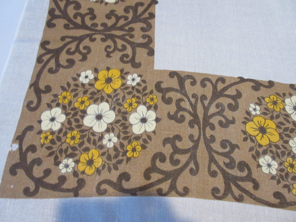 Rustic Fall Floral Brown Burlap Linen Floral Vintage Printed Tablecloth (52 X 51)