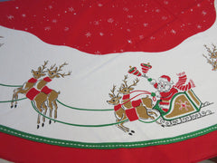 ROUND Retro Flying Santa Napkins Christmas Vintage Printed Tablecloth (59 X 59)