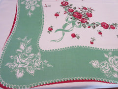 Larger Red Roses Ribbons on Green Floral Vintage Printed Tablecloth (75 X 54)