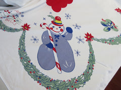 HTF Larger Leacock Cartoon Santa Snowman Christmas Vintage Printed Tablecloth (75 X 60)