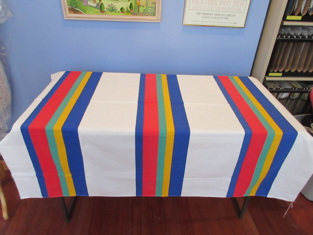 HTF Wilendur Primary Stripes Red Blue Green Novelty Vintage Printed Tablecloth (54 X 50)
