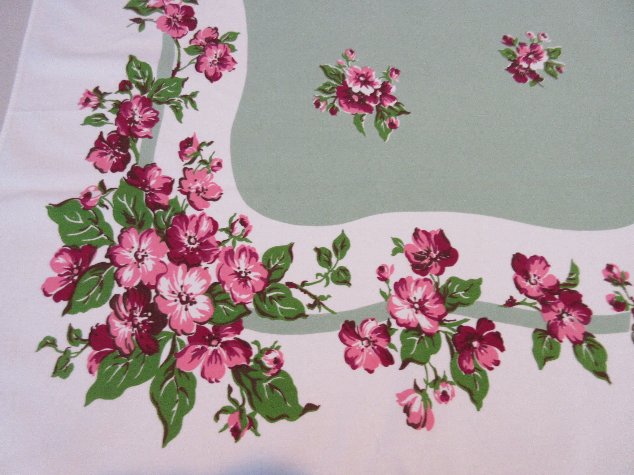 Pink Apple Blossoms on Green Floral Vintage Printed Tablecloth (61 X 52)