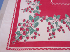 Strawberries on Red Geometric Fruit Vintage Printed Tablecloth (61 X 52)