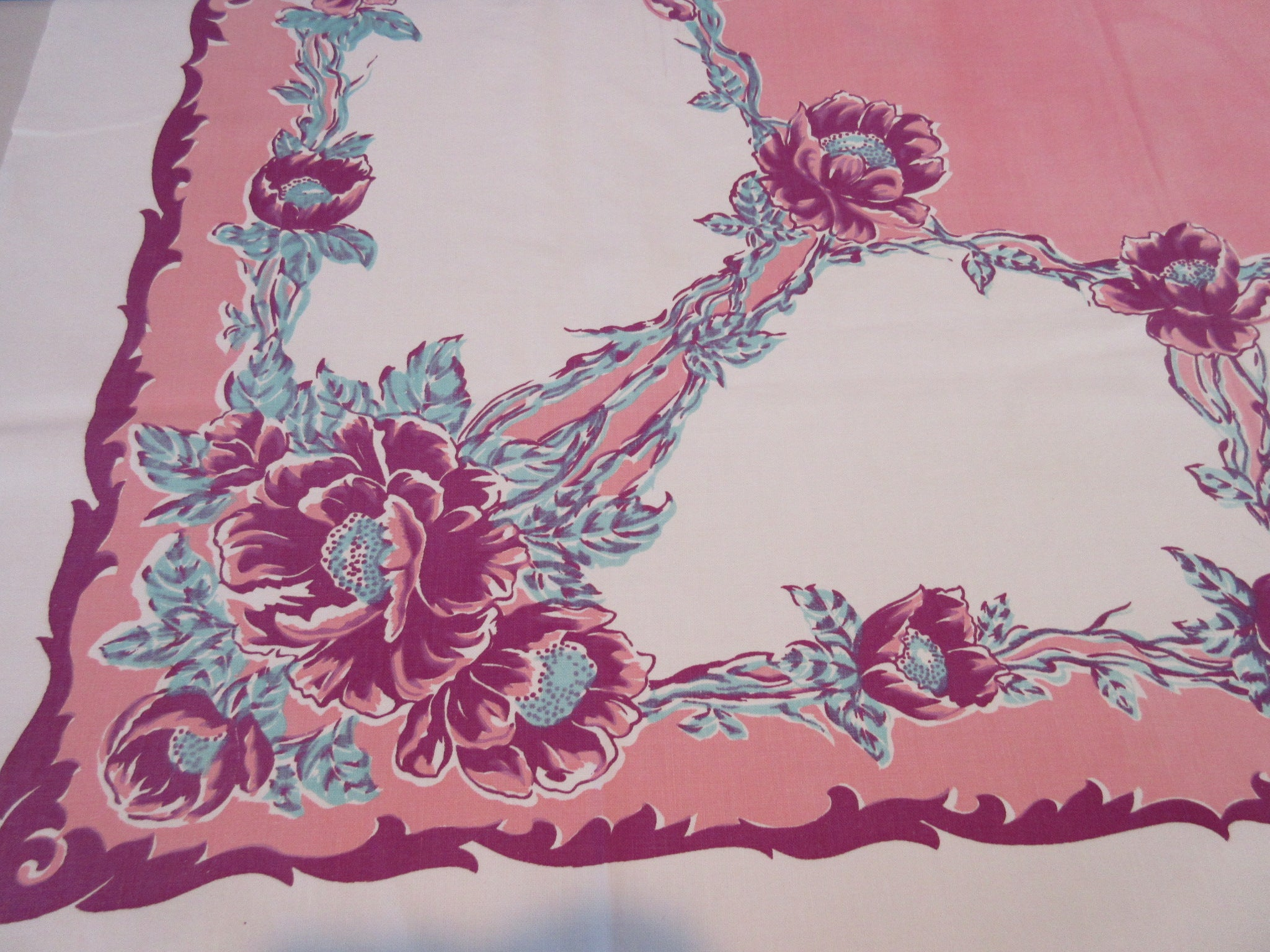 Early Magenta Poppies on Pink Floral Vintage Printed Tablecloth (50 X 45)