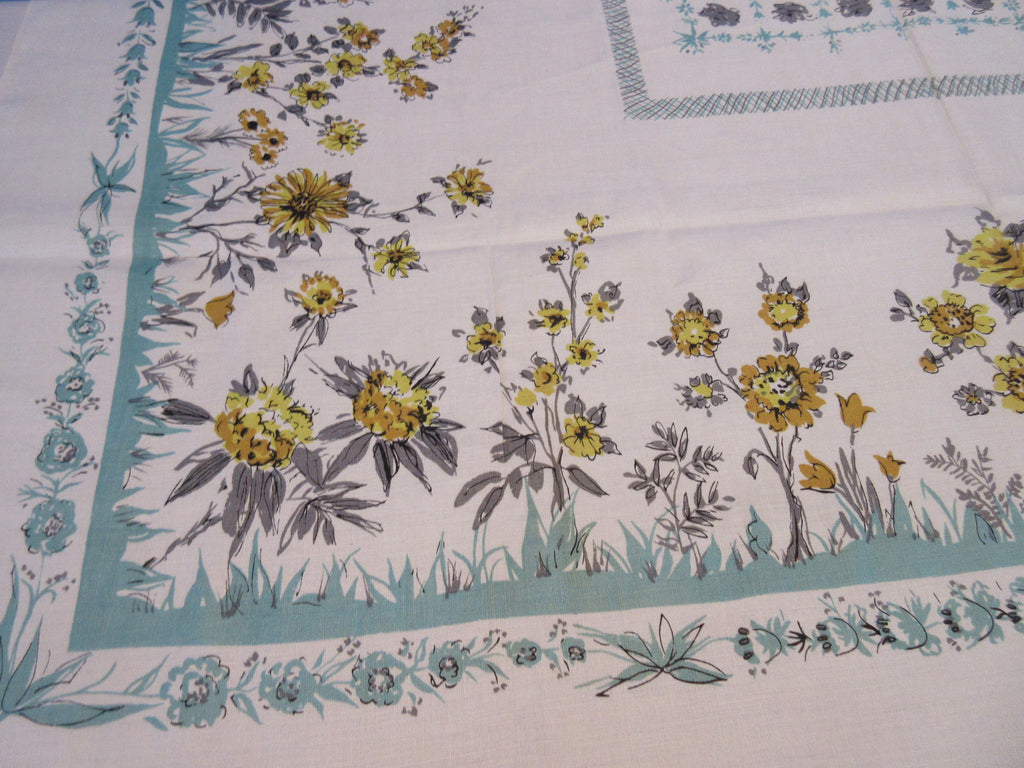 Yellow Gray Roses on Aqua Unwashed Mod Linen Floral Vintage Printed Tablecloth