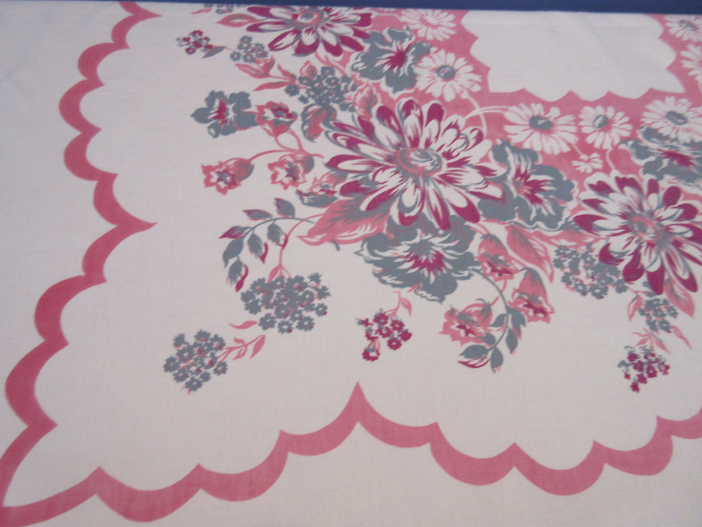 Magenta Gray Daisies on Pink Floral Vintage Printed Tablecloth (51 X 46)