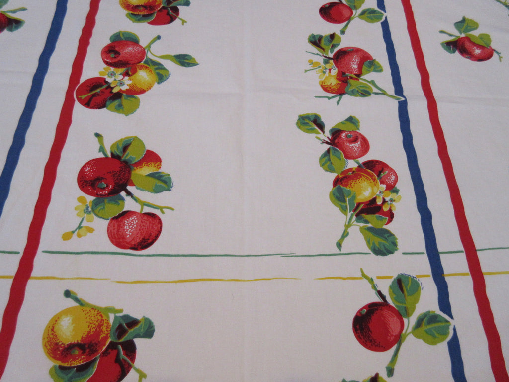 Wilendur Primary Apple Stripes Fruit Vintage Printed Tablecloth (54 X 50)