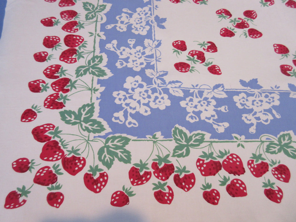 Vibrant Strawberries on Blue Fruit Vintage Printed Tablecloth (53 X 47)