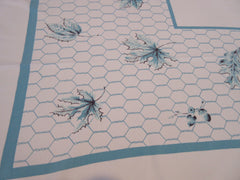 Aqua Leaves on Chicken Wire Novelty Vintage Printed Tablecloth (52 X 43)