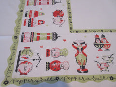 HTF Salt and Pepper Peppys on Olive Green Novelty Vintage Printed Tablecloth (53 X 42)