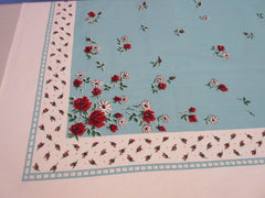 Red Green Roses Rosebuds on Aqua Floral Vintage Printed Tablecloth (64 X 50)