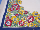 Primary Mod Flowers on Blue Linen PoF Floral Vintage Printed Tablecloth (53 X 51)