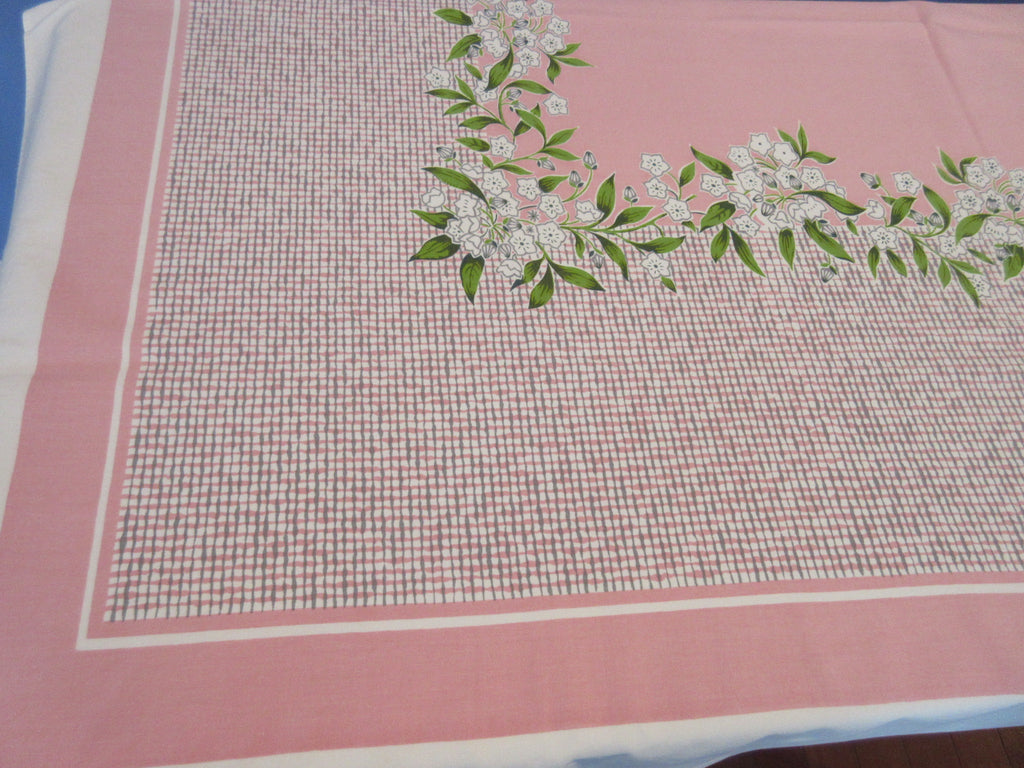 Gray Green Phlox Plaid on Pink Floral Vintage Printed Tablecloth (61 X 52)