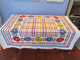 Primary Dahlias Plaid Red Blue Yellow Floral Vintage Printed Tablecloth (52 X 46)