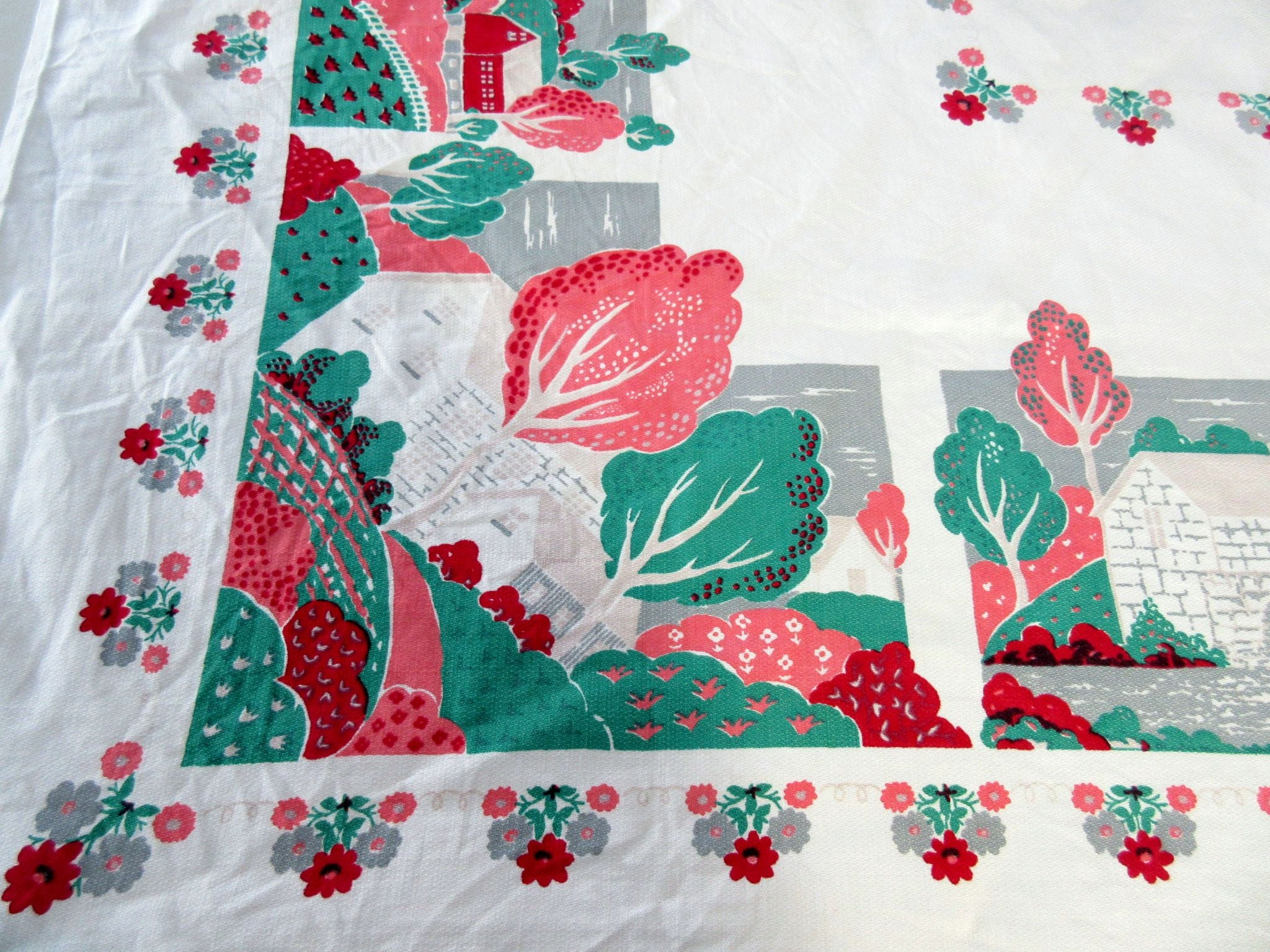 TLC Fall Countryside Trees Novelty Vintage Printed Tablecloth (51 X 48)