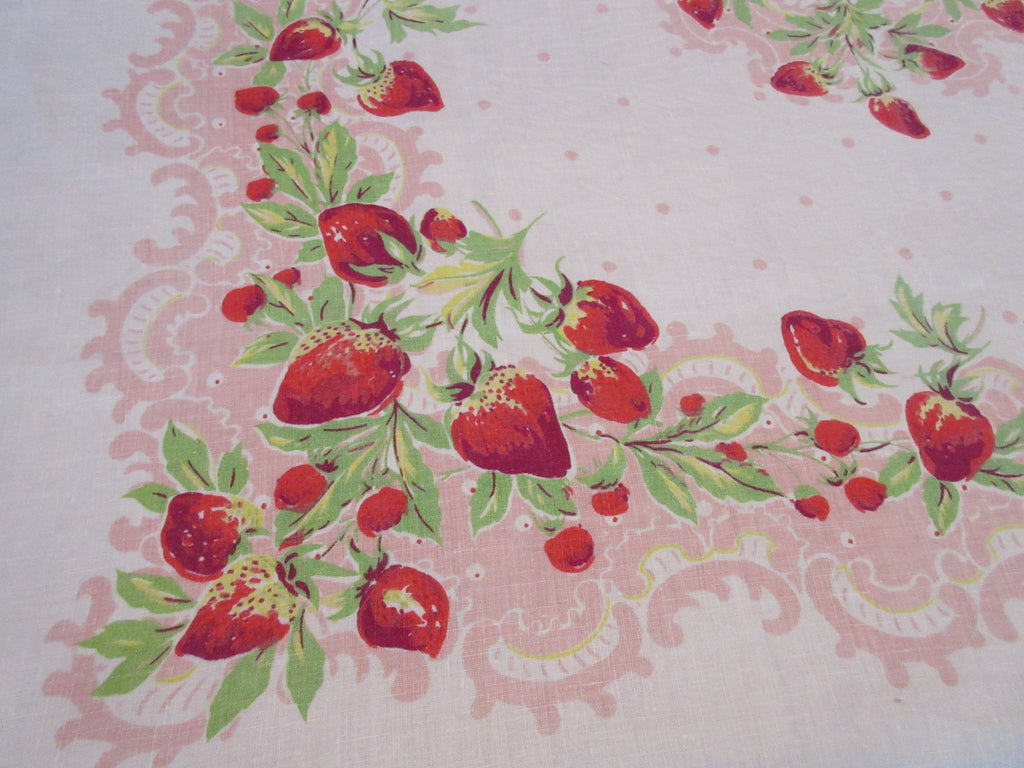 HTF Strawberries on Pink Polkadot Linen Fruit Vintage Printed Tablecloth (52 X 52)