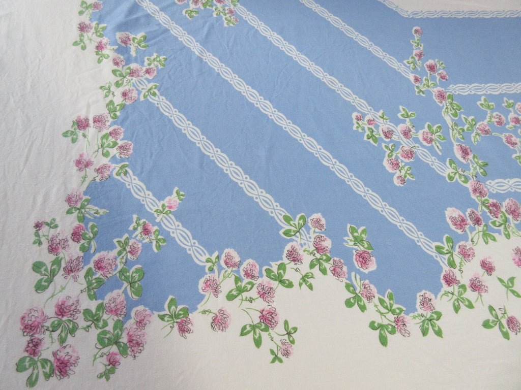 Shabby Pink Clovers on Blue CUTTER? Vintage Printed Tablecloth (68 X 61)