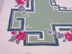 Shabby Pink Dahlias on Green Greek Key Floral Vintage Printed Tablecloth (51 X 44)
