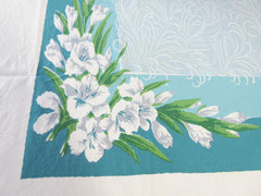 Gladioli on Teal CUTTER? Floral Vintage Printed Tablecloth (68 X 60)