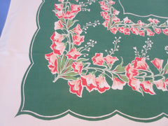 Shabby Coral Bellflowers on Green Napkins Floral Vintage Printed Tablecloth (71 X 60)