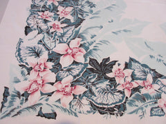 Shabby Early CHP Tropical Floral Cutter Vintage Printed Tablecloth (52 X 48)