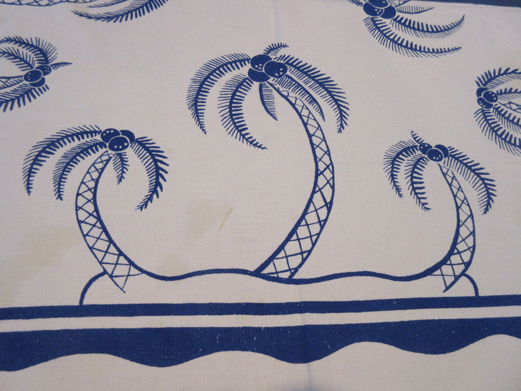 Cobalt Blue Palm Trees Novelty Cutter Vintage Printed Tablecloth (50 X 46)