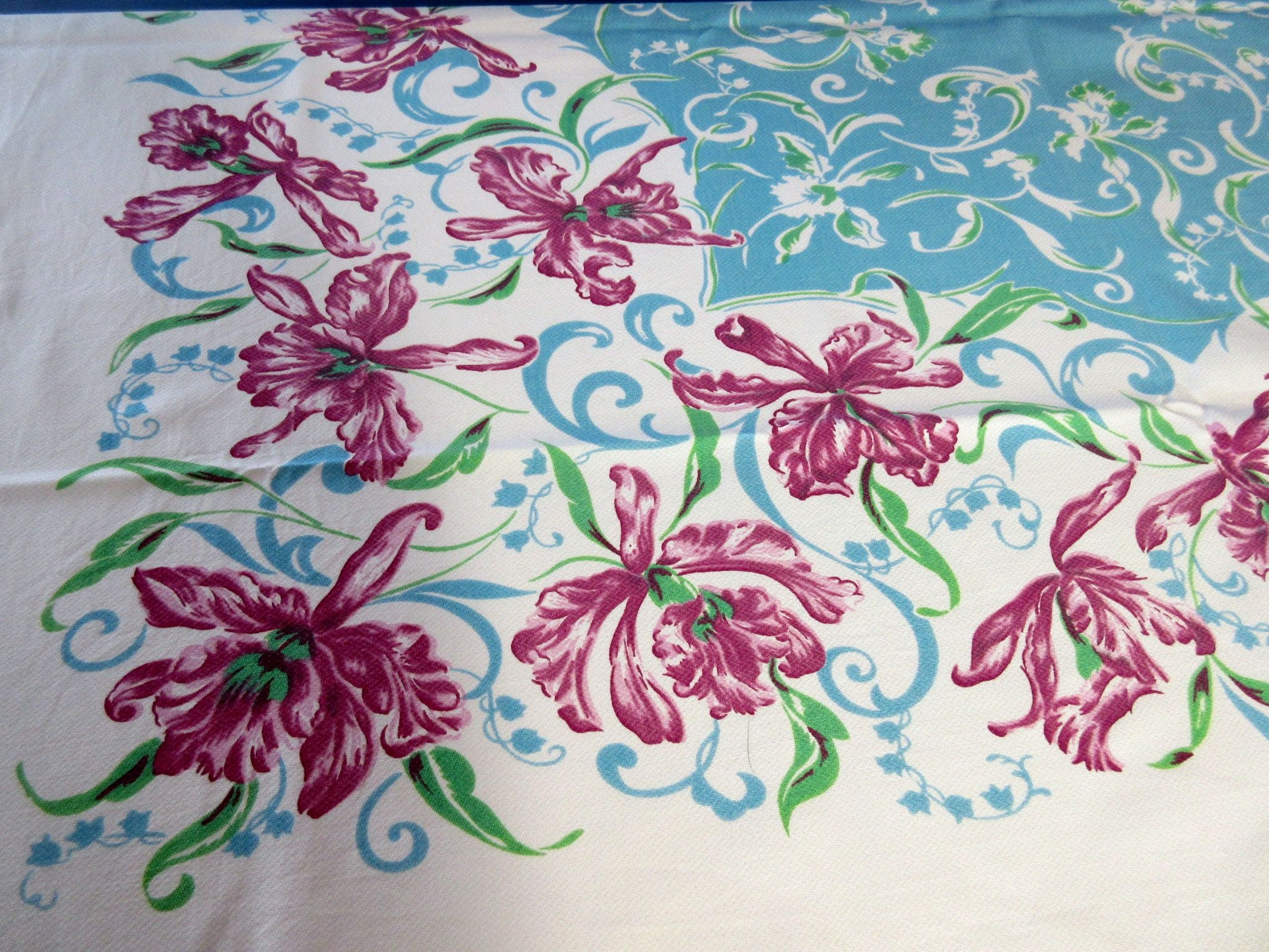 Pink Orchids on Turquoise Floral Vintage Printed Tablecloth (52 X 46)