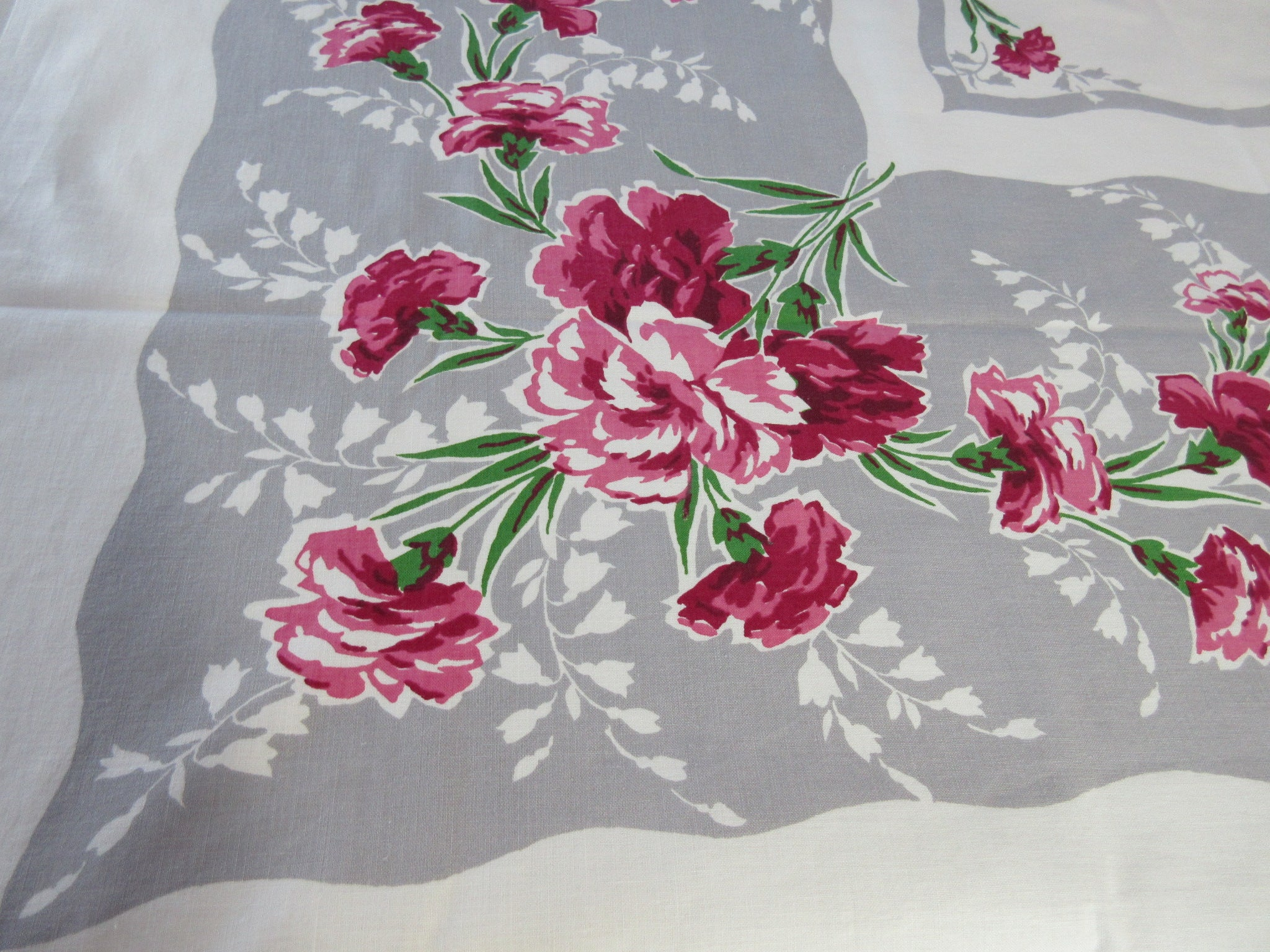 Bright Pink Carnations on Gray Floral Vintage Printed Tablecloth (51 X 47)