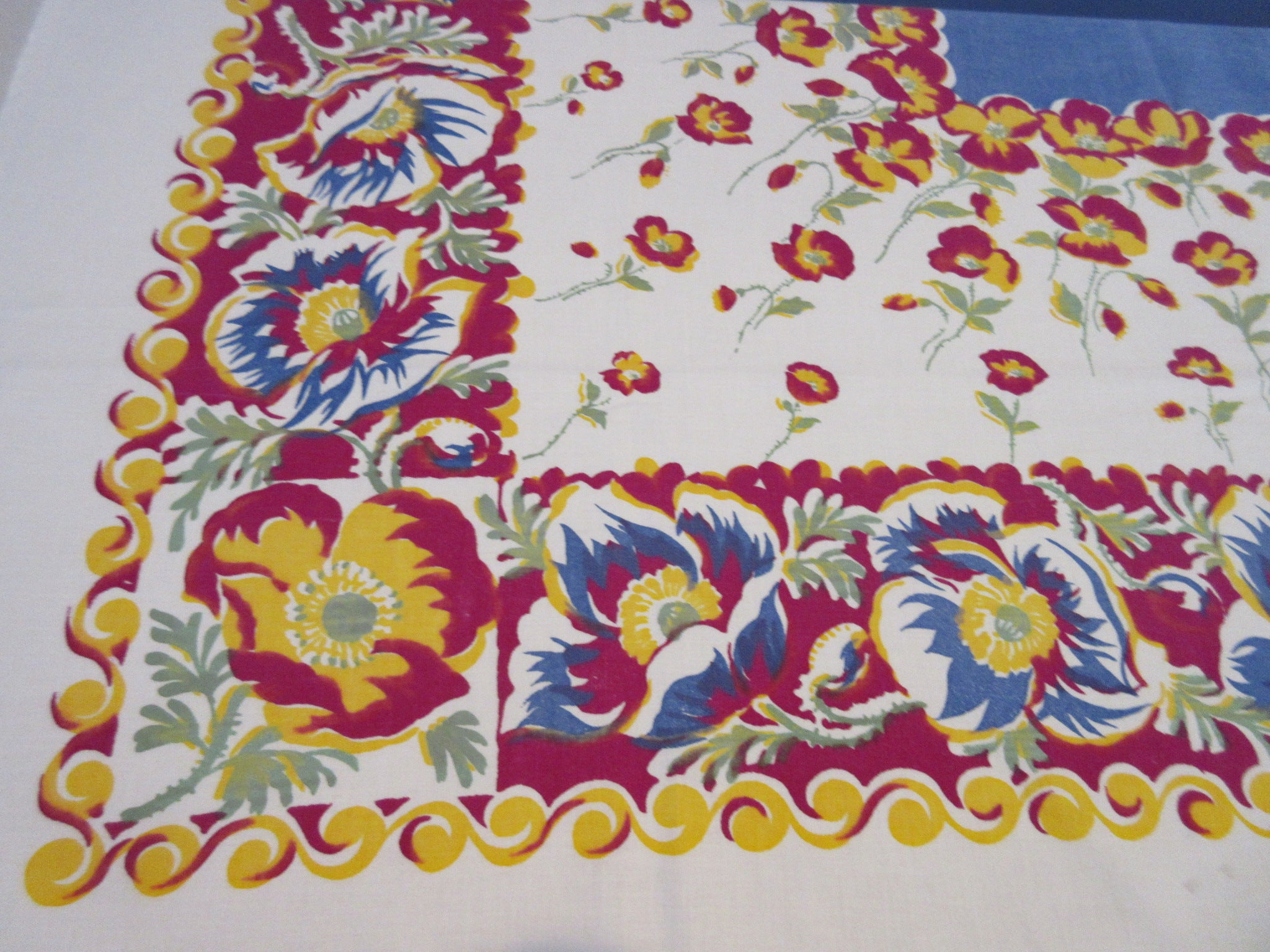 Early Magenta Yellow Poppies on Blue Floral Vintage Printed Tablecloth (53 X 49)