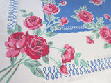 Larger Pink Roses on Blue Floral Vintage Printed Tablecloth (61 X 49)
