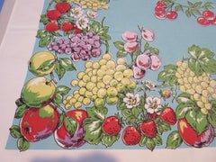 Bright Fruit on Aqua Parisian Prints Vintage Printed Tablecloth (68 X 52)