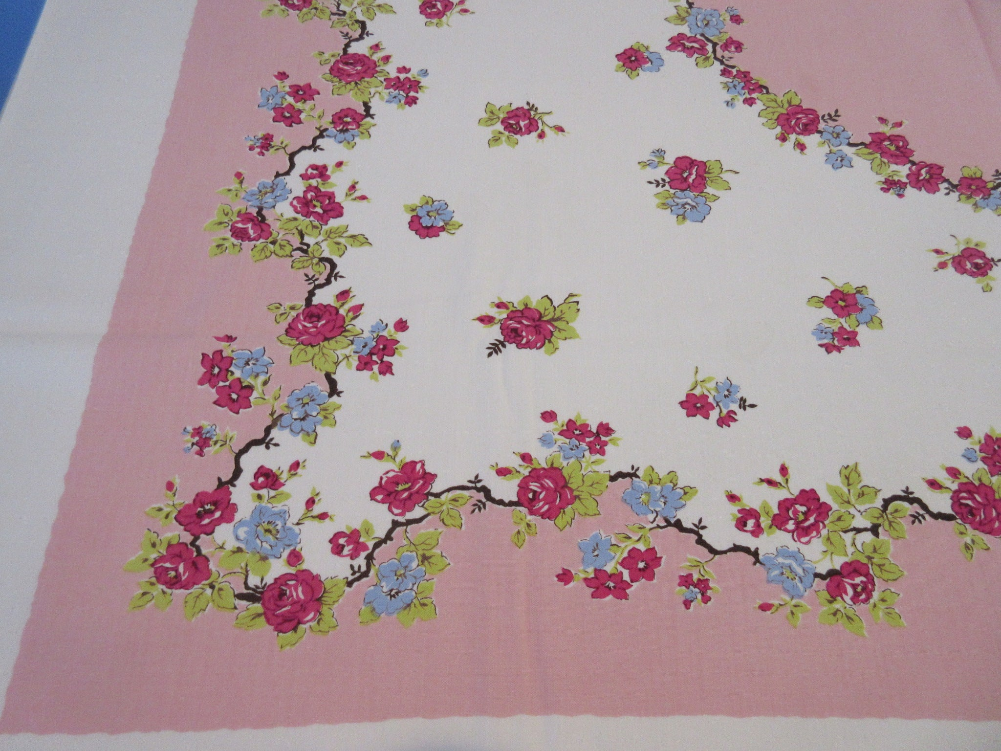 Sweet Petite Red Blue Roses on Pink Floral Vintage Printed Tablecloth (52 X 45)
