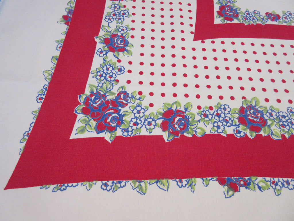 Large Patriotic Blue Roses Red Polkadots Floral Vintage Printed Tablecloth (69 X 56)