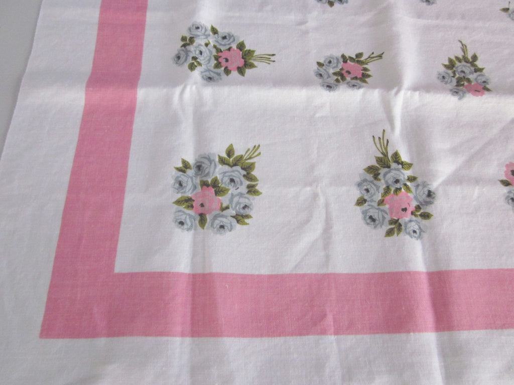 Gray Green Roses Pink Linen Floral Vintage Printed Tablecloth (48 X 48)