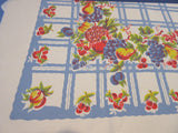 Bright Primary Fruit on Blue Plaid Vintage Printed Tablecloth (71 X 56)