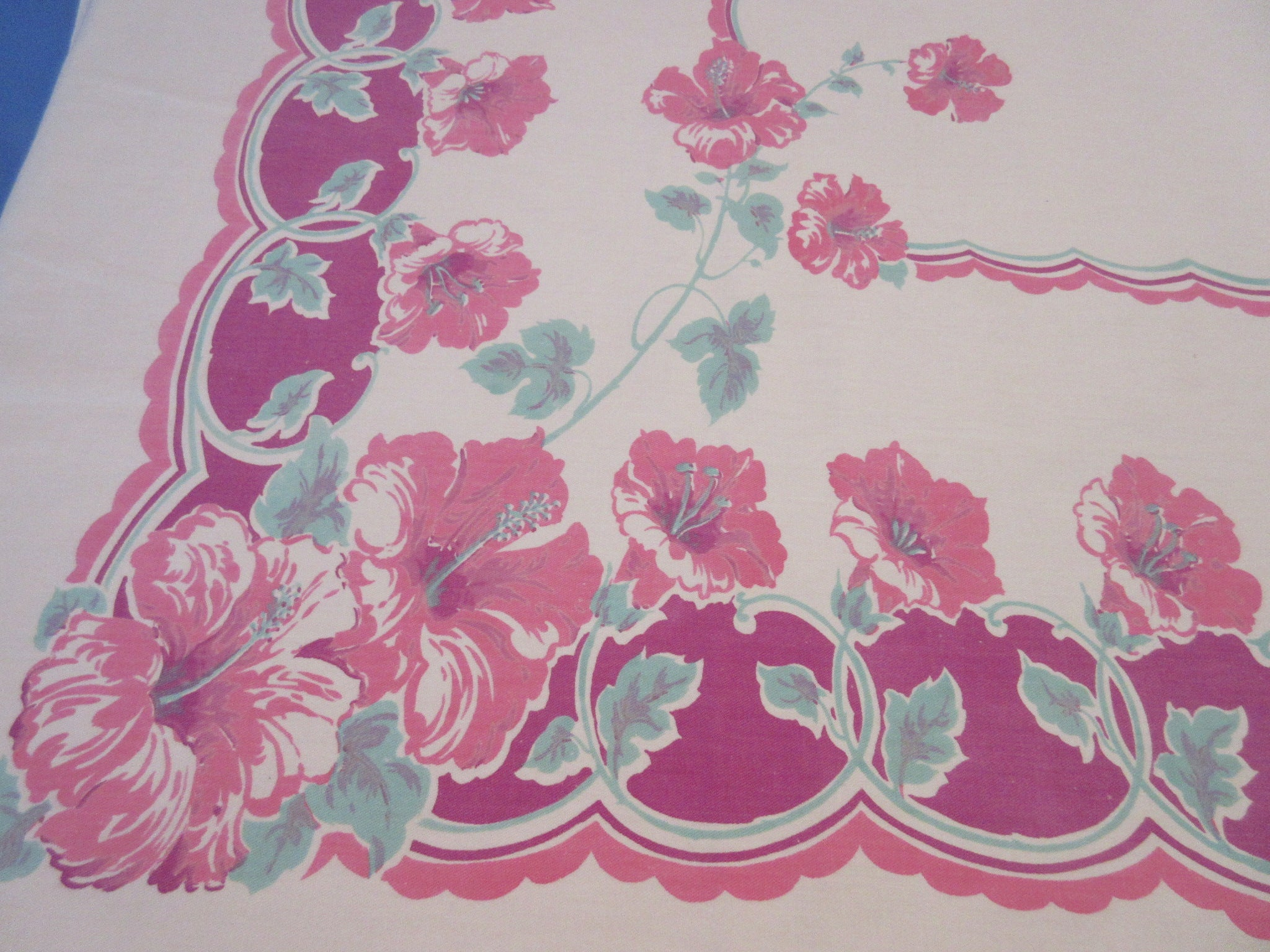 Large Pink Green Hibiscus on Magenta Floral Vintage Printed Tablecloth (66 X 58)