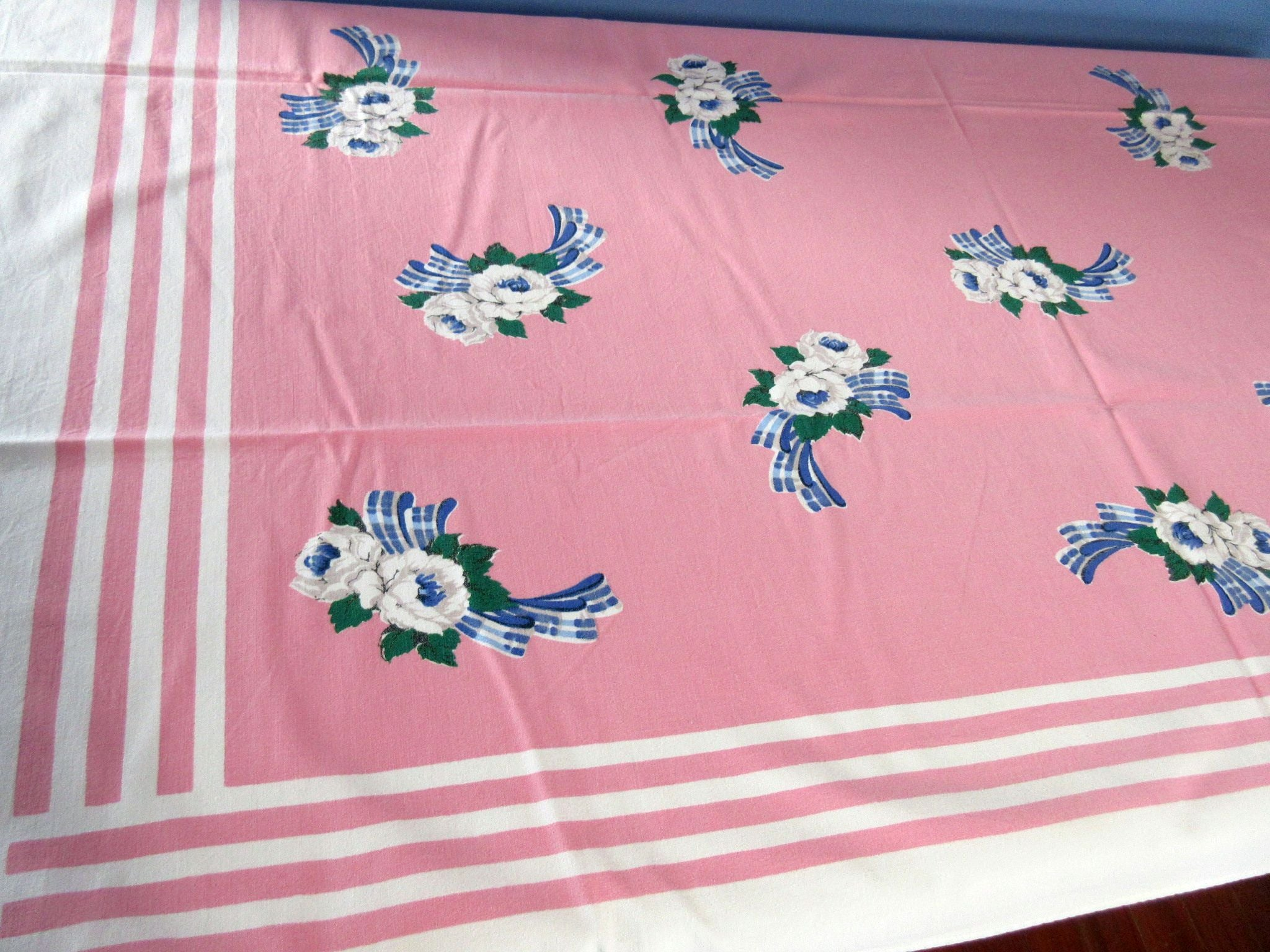 Gray Roses Blue Plaid Ribbons on Pink Floral Vintage Printed Tablecloth (51 X 42)