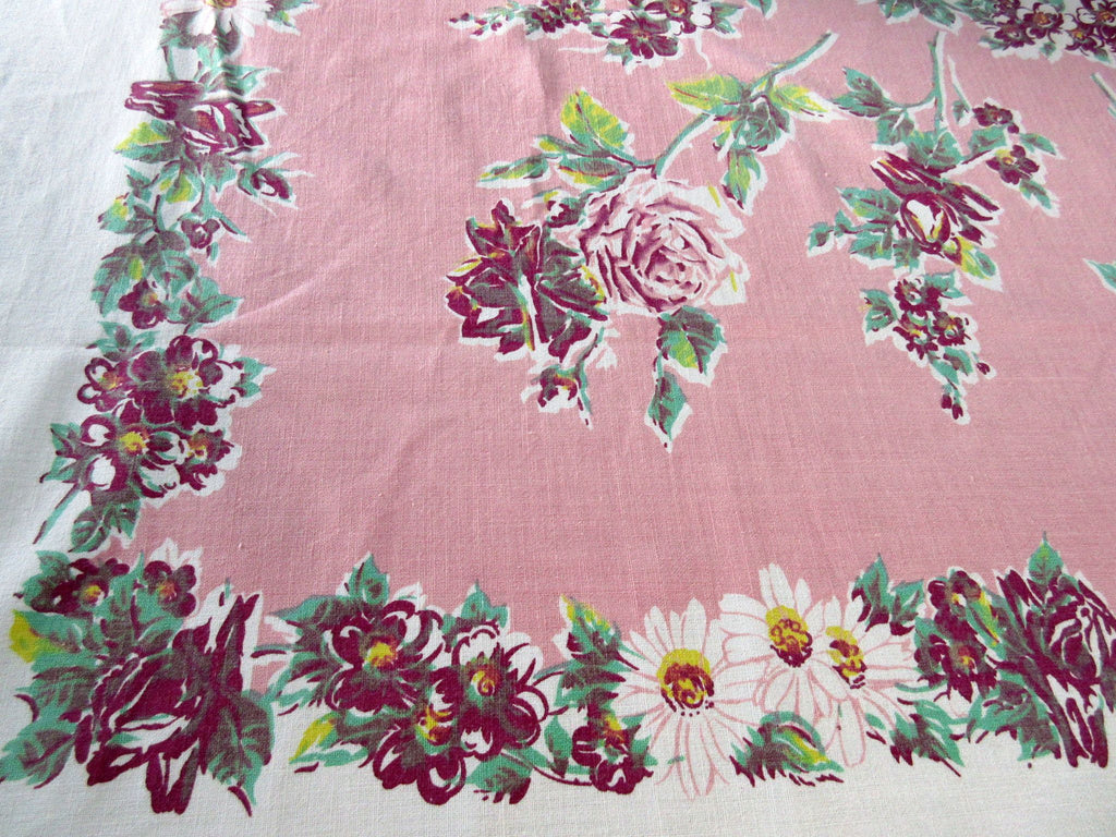 Large Early Rustic Roses Daisies on Pink Floral Vintage Printed Tablecloth (78 X 63)
