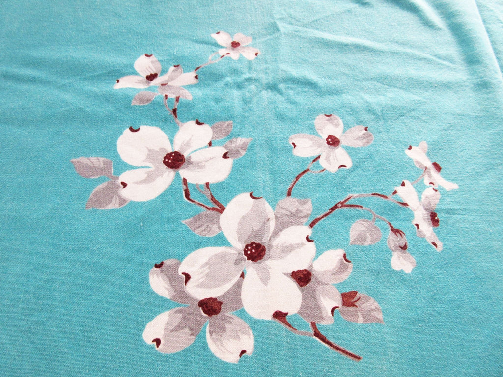 Wilendur Dogwood on Turquoise Floral Vintage Printed Tablecloth (64 X 53)
