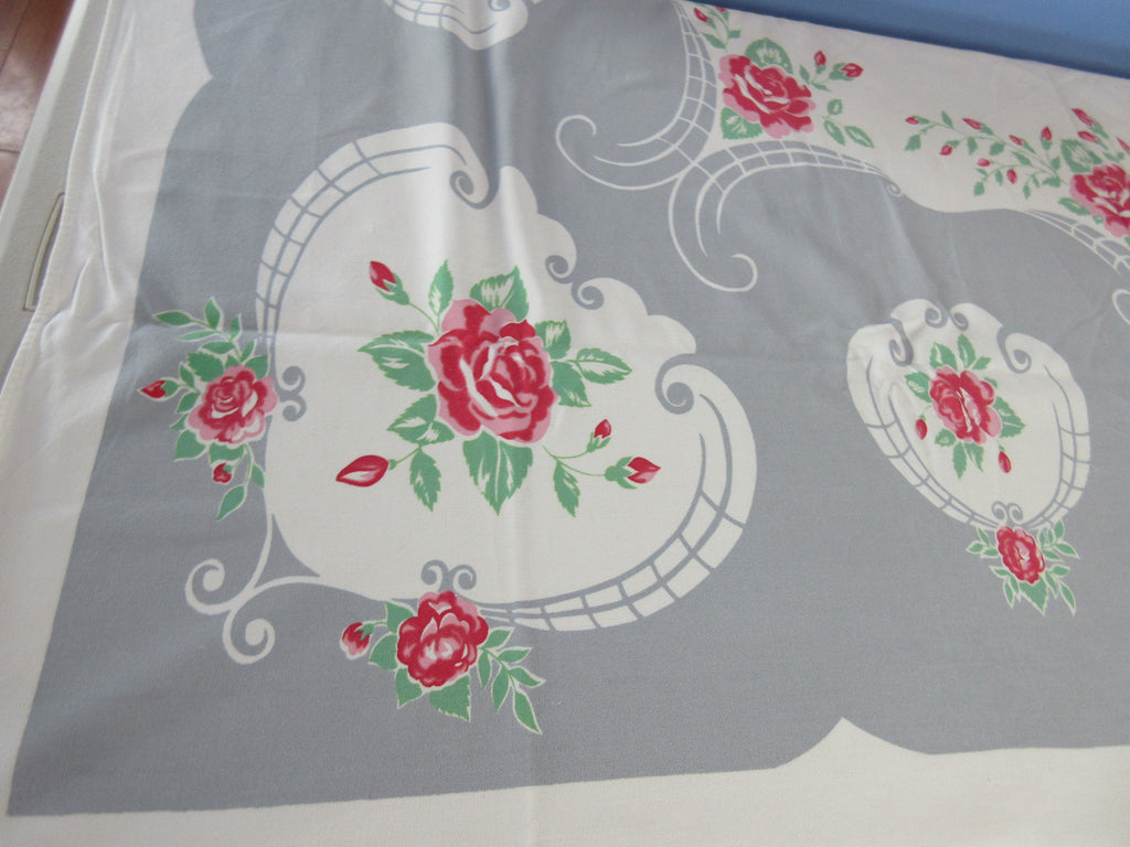 Pink Green Roses on Gray Floral Vintage Printed Tablecloth (56 X 51)