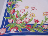 Stunning Pink Green Tulips on Blue Linen Floral Vintage Printed Tablecloth (54 X 51)