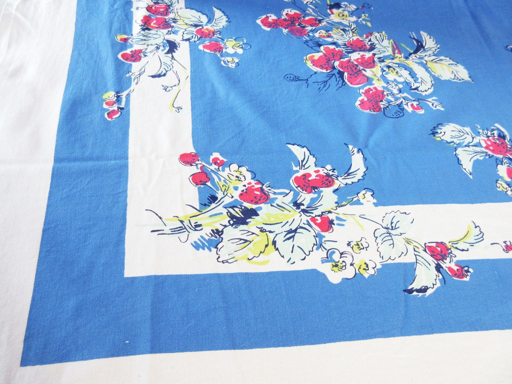 Strawberries on Blue Parisian Prints Fruit Vintage Printed Tablecloth (52 X 48)