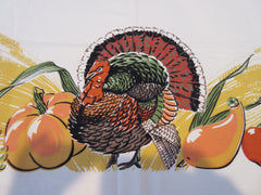 Large Thanksgiving Turkey Autumn Fall MWT Novelty Vintage Printed Tablecloth (104 X 58)