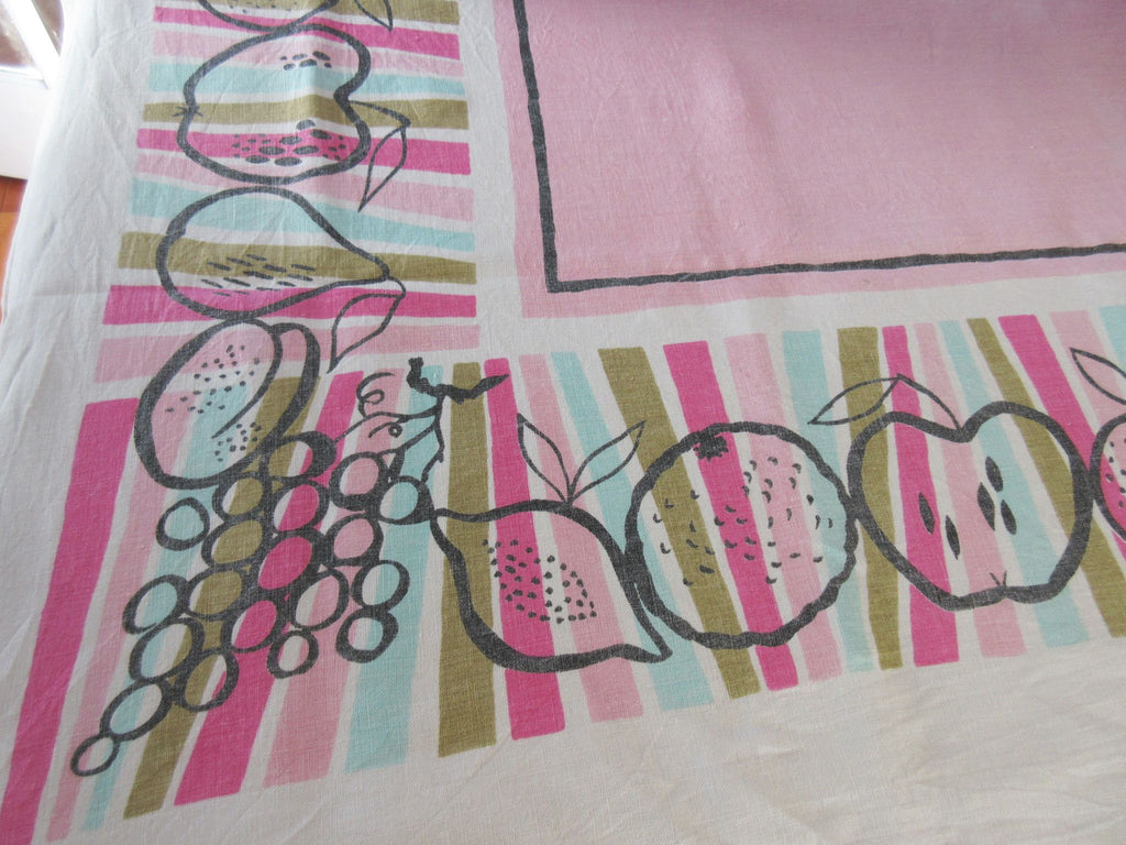 Fun Fruit Stripes Outlines Aqua Linen Fruit Vintage Printed Tablecloth (66 X 51)