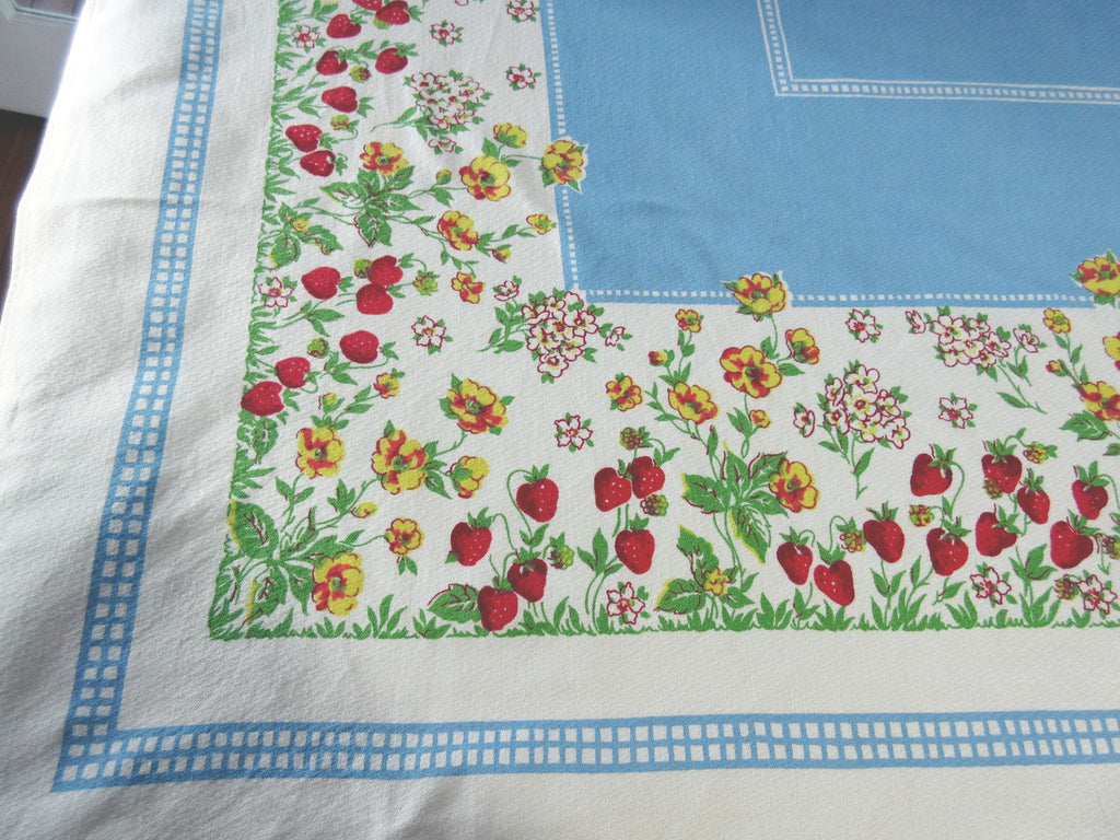 Sweet Strawberries on Blue Fruit Vintage Printed Tablecloth (63 X 50)