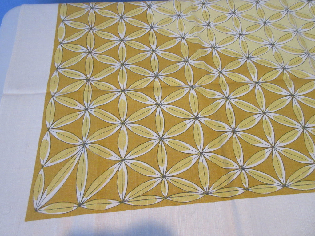 MCM VERA Golden Geometric Linen Autumn Fall MWT Novelty Vintage Printed Tablecloth (52 X 51)